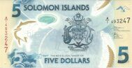 Genuine banknote of the Solomon Islands 5 dollars 2019 (polymer)