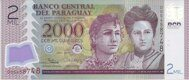Genuine banknote of Paraguay 2000 guarani 2017 (polymer)