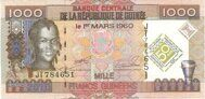 Guinea genuine banknote 1000 francs 2010 (anniversary)