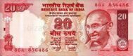Genuine banknote India 20 rupees 2002