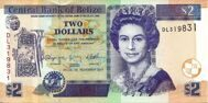 Genuine banknote Belize 2 dollars 2011