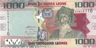 Genuine Sierra Leone banknote is 1000 leon 2013