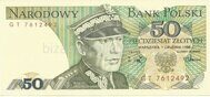 Genuine banknote Polish 50 zloty 1988