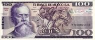 Genuine banknote Mexico 100 pesos 1982