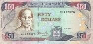 Genuine banknote of Jamaica $ 50 2007