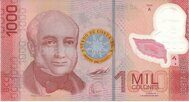 Genuine Costa Rican banknote of 1000 colons 2009 (polymer)