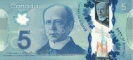 Genuine Canadian note 5 dollars 2013 (polymer)