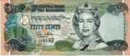 Genuine banknote Bahamas 50 cents 2001
