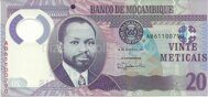 Genuine Mozambique banknote  20 metical 2017 (polymer)
